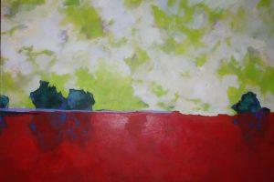 paysage semi abstrait ciel vert nuageux et sol rouge sombre