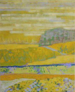 tableau de paysage à dominante jaune différentes strates apportant du mouvement et de la vie à ce paysage