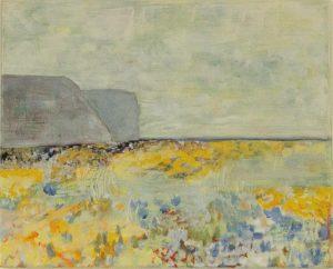 paysage semi-abstrait rocks gris et mer de fleurs dans les tons de jaune et bleu. ciel brumeux