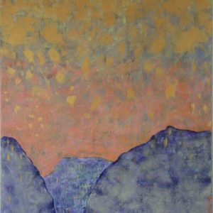 ciel rosé avec pluie dorée sur monts indigos