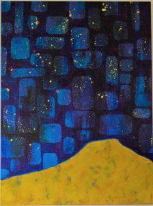 dunes ocre jaune sur fond nuit