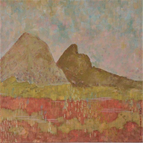 paysage deux monts tons chauds pour le sol et couleurs pastel pour le ciel