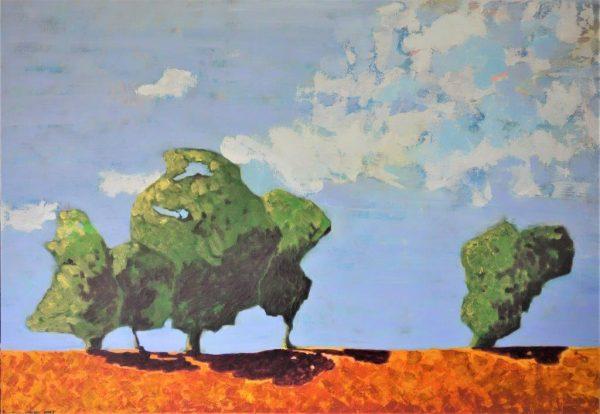 paysage ensoleillé terre et arbres nuages dans ciel bleu