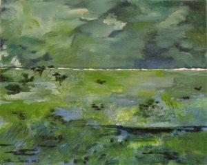 paysage tons de vert mouvements d'herbes et ciel tourmenté
