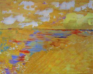 tableau paysage à dominante de jaune d'or