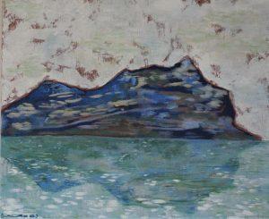mont bleu avec reflet ciel blanc