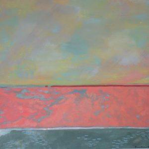 horizon ciel coloré et vaporeux sur terre couleur corail et kaki