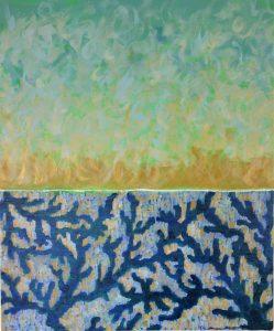paysage abstrait composé de 2 parties: partie basse dans les tons bleu canard composée comme un corail, partie haute bleu ciel vaporeux légèrement doré