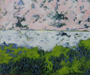 paysage tons pastels rose, vert, bleu et blanc