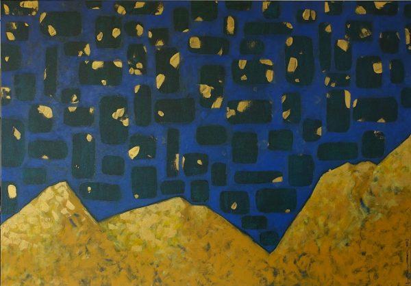 nuit étoilée sur des dunes ocre jaune