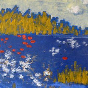 peinture semi-abstraite tons d'ocre jaune, bleu, blanc et rouge vermeil
