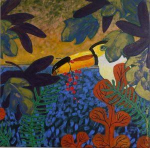 paysage exotique format carré avec toucan